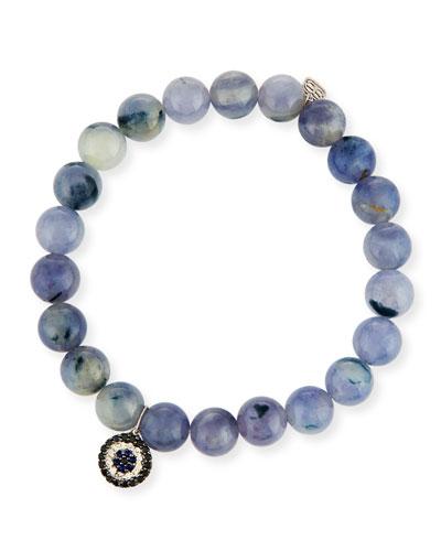 8mm Beaded Iolite Bracelet with Sapphire & Diamond Charm