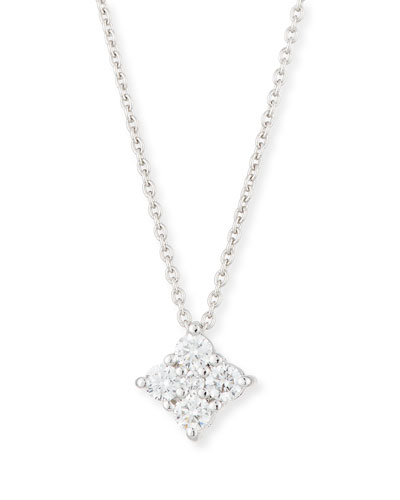 Diamond Flower Pendant Necklace in 18K White Gold