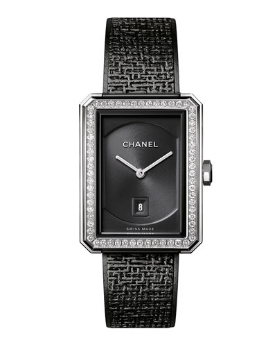 BOY&middotFRIEND Black Tweed Watch with Diamonds