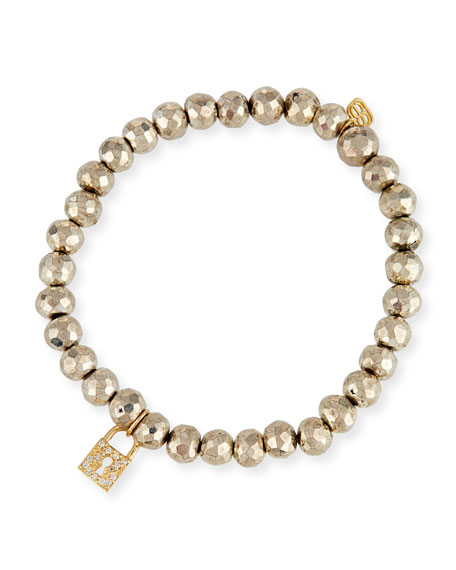 Sydney Evan 6mm Beaded Pyrite Bracelet with Diamond