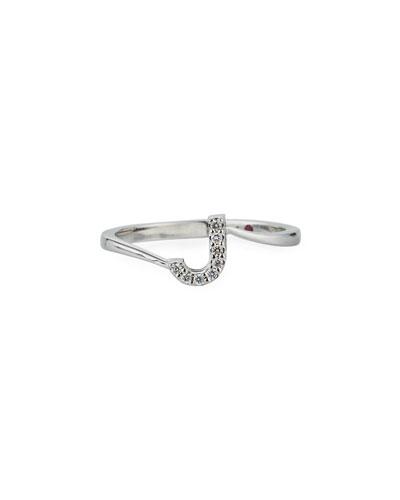 Diamond Letter Ring in 18K White Gold