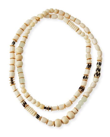 Akola Long Bone & Sea Glass Beaded Necklace