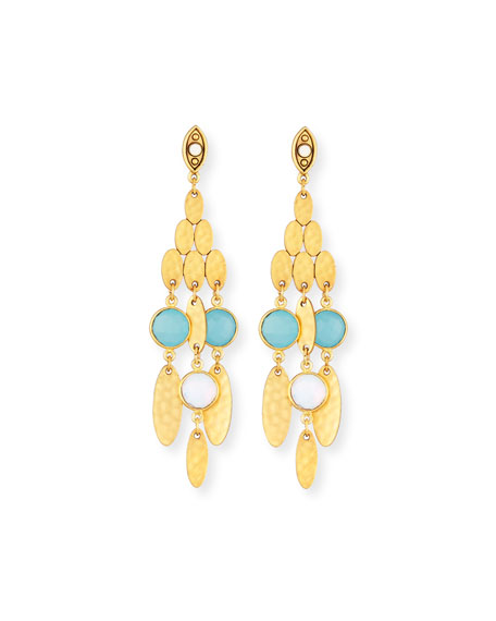 Hammered Golden Semiprecious Chandelier Earrings