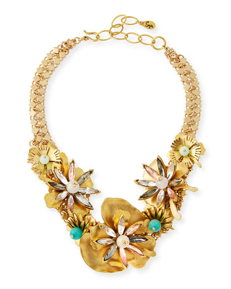 Sequin Floral Statement Choker Necklace