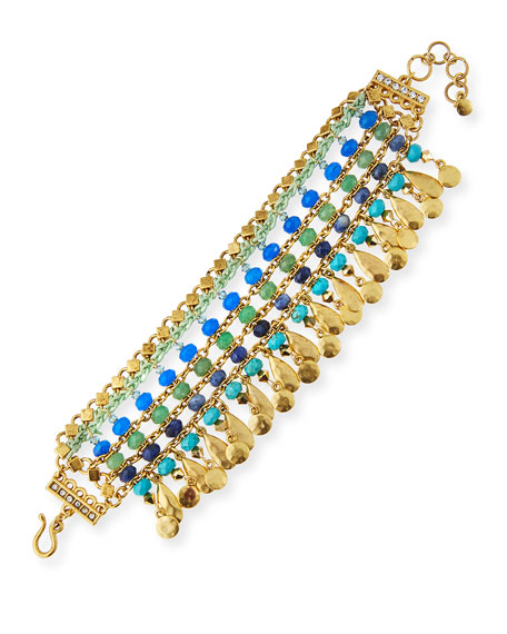 Sequin Semiprecious Beaded Statement Bracelet