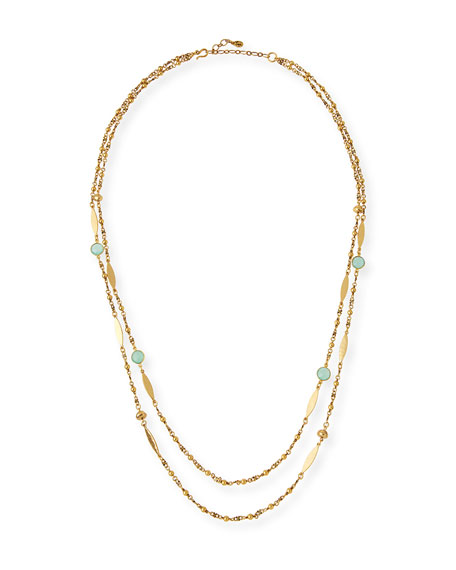 Sequin Double-Strand Semiprecious Station Necklace FjjLPB03
