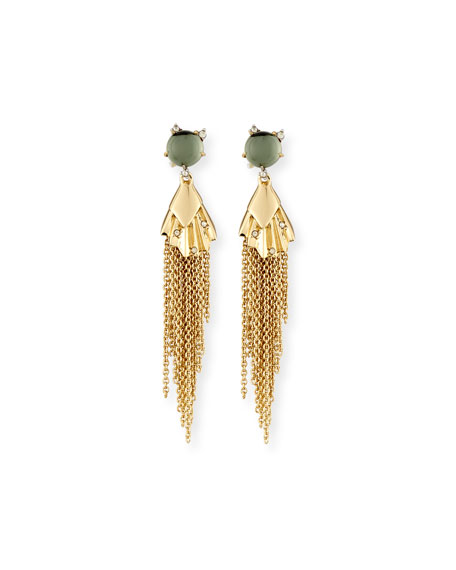 Alexis Bittar Crystal Studded Dangling Tassel Earrings, Light