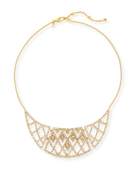 Alexis Bittar Crystal-Encrusted Bib Necklace, Golden