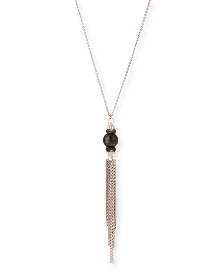 New World Midnight Tahitian Pearl Tassel Pendant Necklace