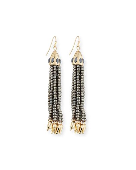 Beaded Metallic Tassel Drop Earrings