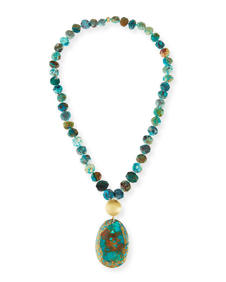 NEST Jewelry Beaded Chrysocolla & Turquoise Pendant Necklace