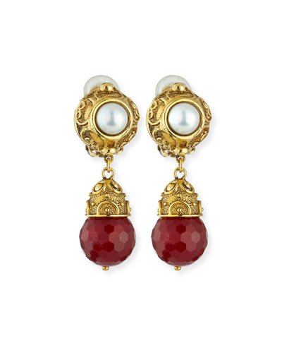Faceted Red Agate Briolette Clip-On Earrings