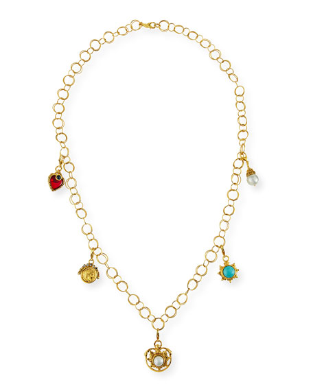 24K Gold-Plated Chain Necklace with Detachable Charms