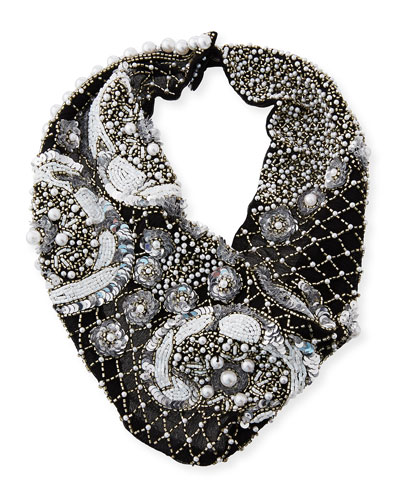 Le Charlot Beaded Scarf Necklace  Black