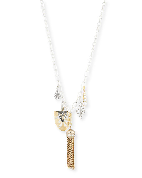 Mixed Golden & Silvertone Charm Necklace