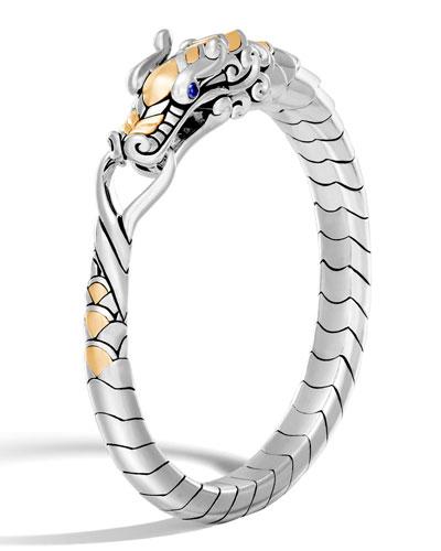 Legends Naga 18K Gold & Silver Multi Coil Bracelet with Blue Sapphire Eyes