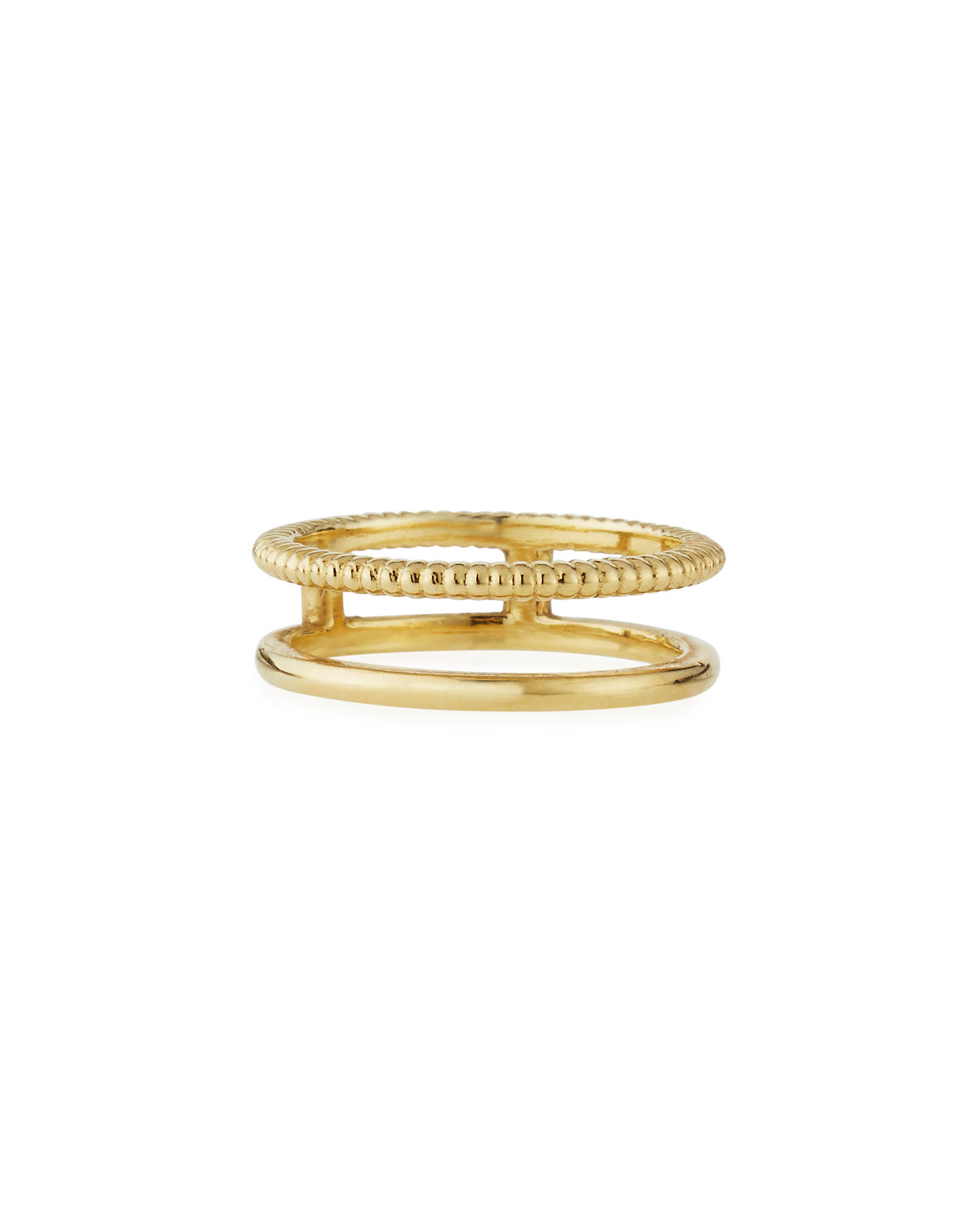 Shinola Illusion Stacked 14K Gold Coin-Edge Ring 5ndQR