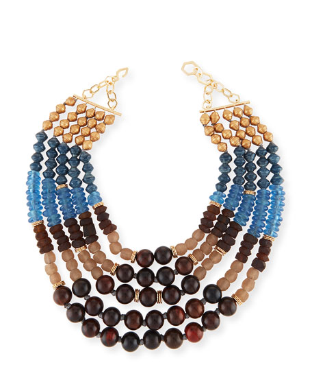 Akola Five-Strand Beaded Necklace, Blue/Brown