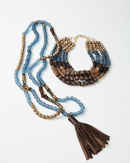 Long Beaded Necklace, Blue/Brown