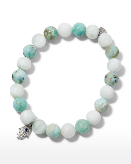 8mm Beaded Larimar Bracelet with Diamond Hamsa Charm