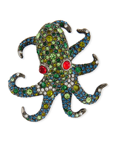 Pave Crystal Octopus Pin