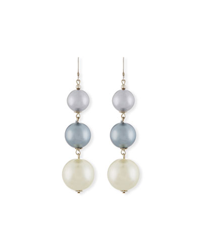 Pearly Gray Three-Drop Earrings