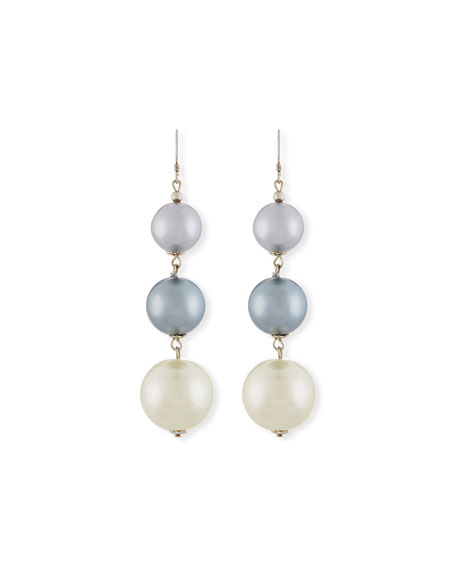 Kenneth Jay Lane Pearly Gray Three-Drop Earrings