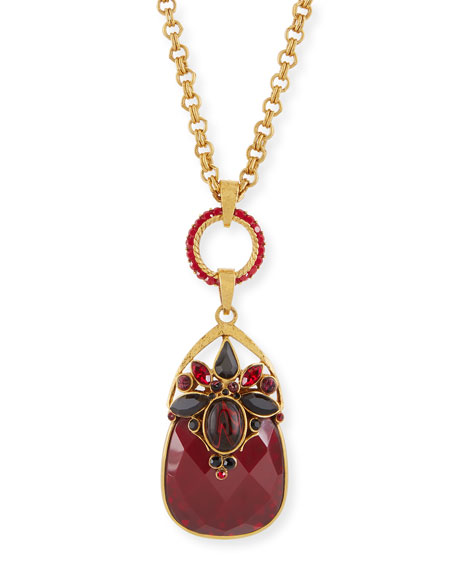 Burgundy Crystal Pendant Necklace