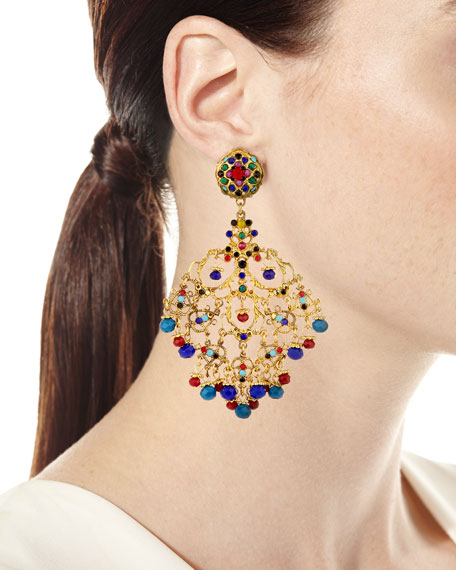Image 3 of 3: Beaded Filigree Chandelier Clip-On Earrings