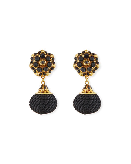 Jose & Maria Barrera Jet Black Beaded Double-Drop