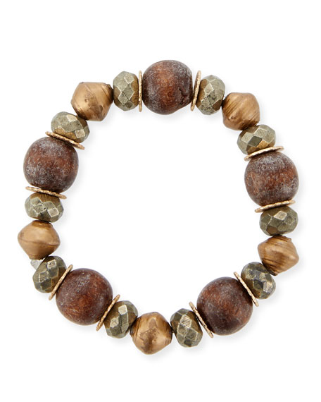 Mixed-Media Stretch Bracelet with Pyrite
