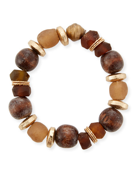 Mixed-Media Stretch Bracelet, Brown/Golden