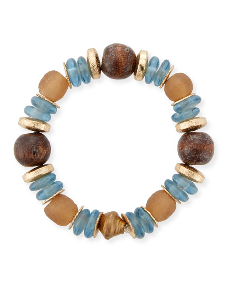 Akola Mixed-Media Stretch Bracelet, Blue/Brown