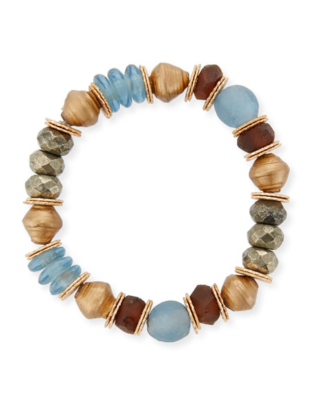 Akola Mixed-Media Stretch Bracelet with Pyrite & Glass