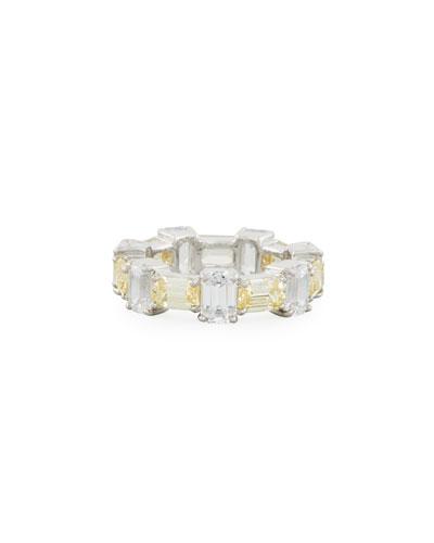 Alternating Emerald-Cut CZ Band Ring