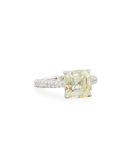 Asscher-Cut Canary CZ Ring