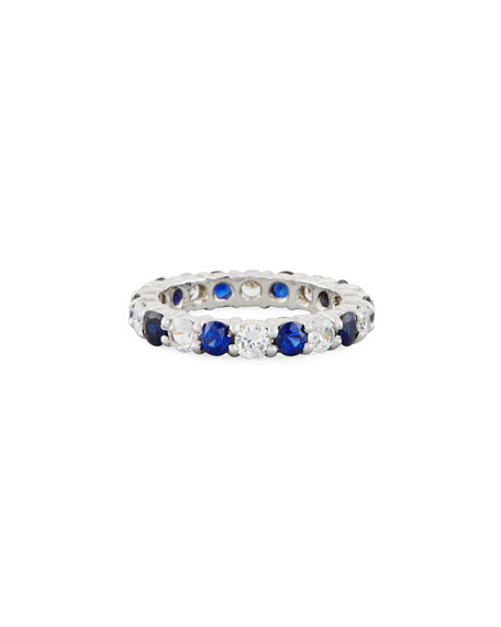 Fantasia by DeSerio Blue & White CZ Eternity