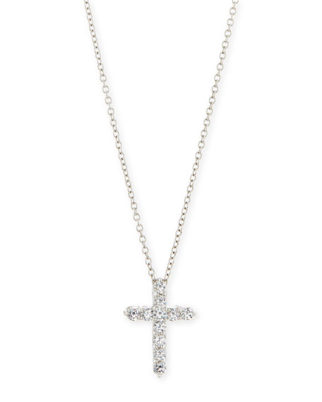 Fantasia by DeSerio CZ Cross Pendant Necklace