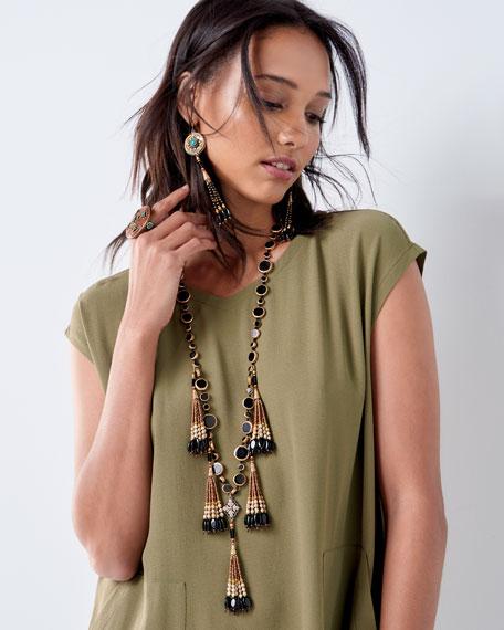 Antiqued Turquoise & Onyx Beaded Earrings