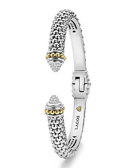 Caviar Small Hinge Bracelet with Diamonds