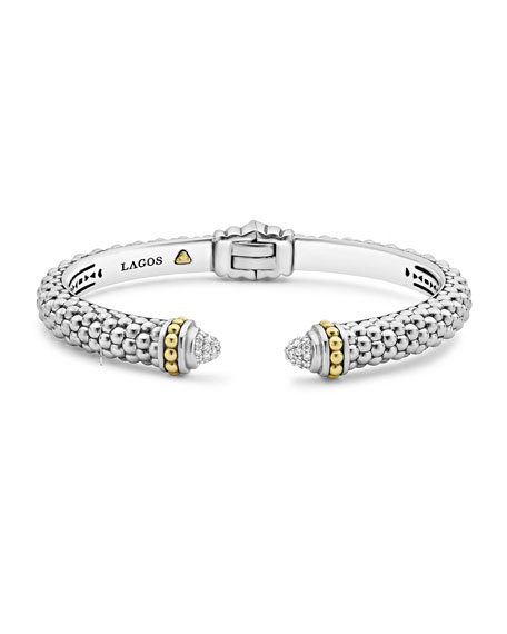 Lagos Caviar Small Hinge Bracelet with Diamonds