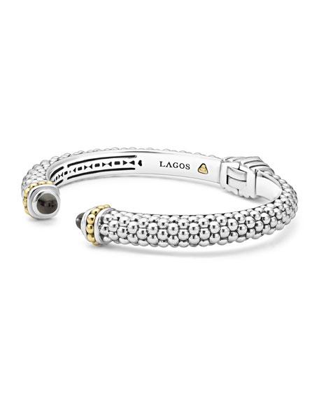 8mm Sterling Silver Caviar Hinge Cuff Bracelet in Onyx