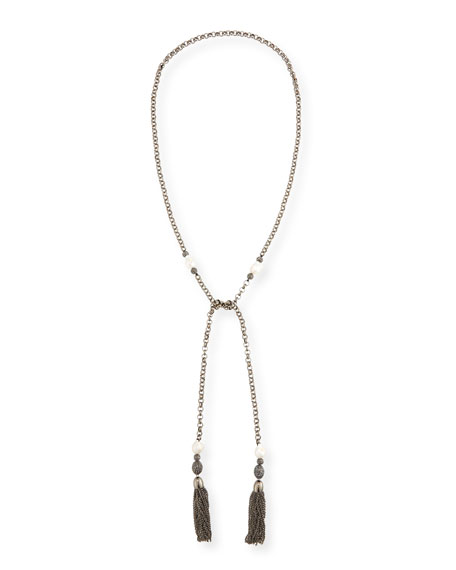 Hipchik Courtney Chain Tassel Lariat Necklace