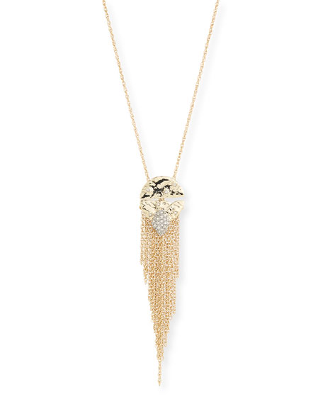 Alexis Bittar Rocky Medallion Chain Fringe Pendant Necklace