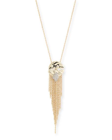 Rocky Medallion Chain Fringe Pendant Necklace