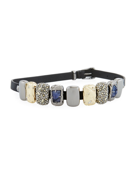 Alexis Bittar Embellished Leather Choker/Wrap Bracelet