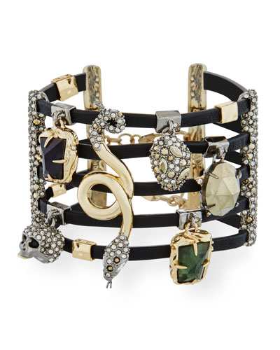 Multi-Row Leather Cuff Bracelet with Crystal Charms