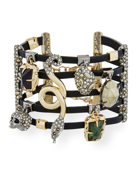 Alexis Bittar Multi-Row Leather Cuff Bracelet with Crystal