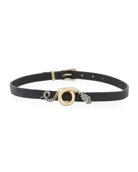 Snake Charm Leather Wrap Choker/Bracelet