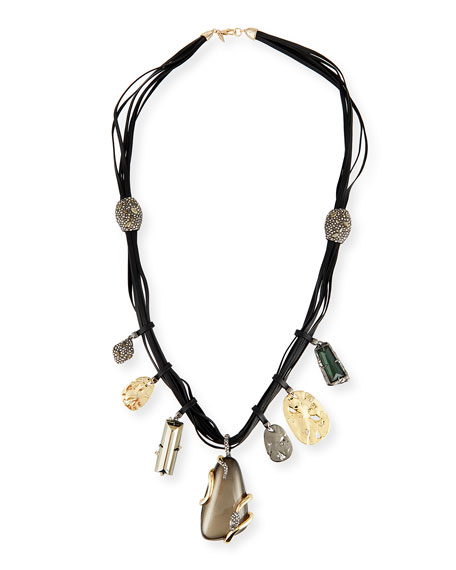 Alexis Bittar Long Charm Necklace w/Suede Cord